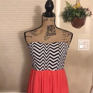 Coral Strapless Maxi Dress